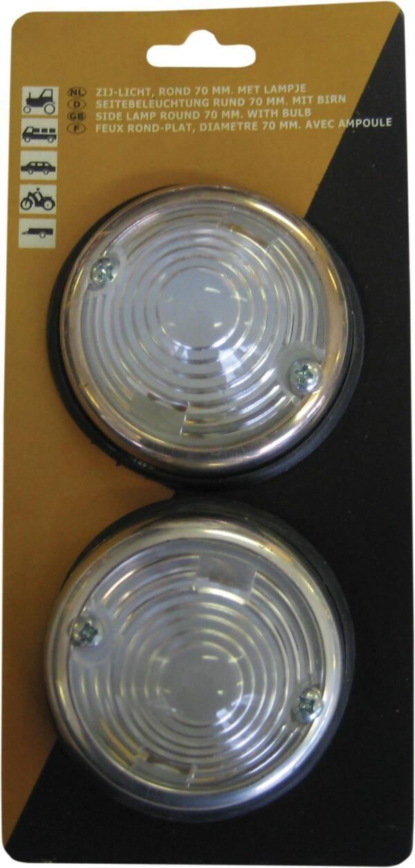 Zijlichten (2 st.) rond 70mm - 12 volt wit + chroomrand