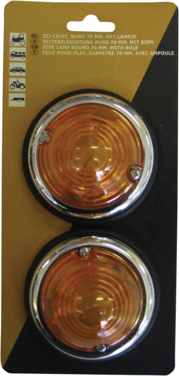Zijlichten (2 st) rond 70mm - 12 volt oranje + chroomrand