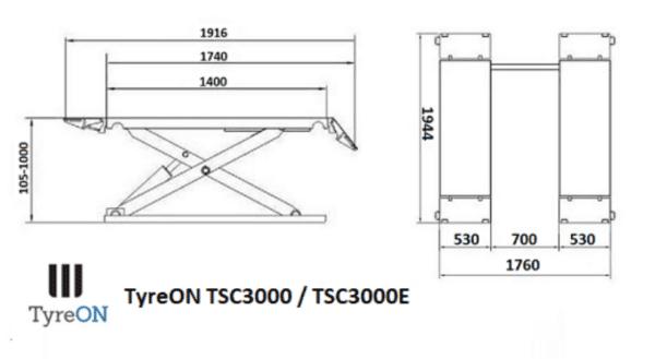 Professionele bandenbrug 3000kg 1000mm met elektrische ontgrendeling!